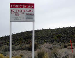 restricted security sign at area 51