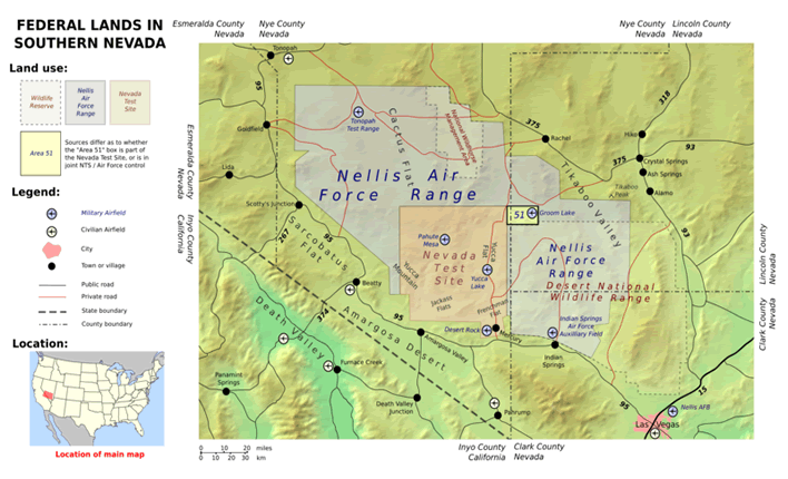 area 51 map and locations of all military bases in nevada
