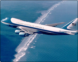 Air Force One Boeing 747 Flying over Ocean