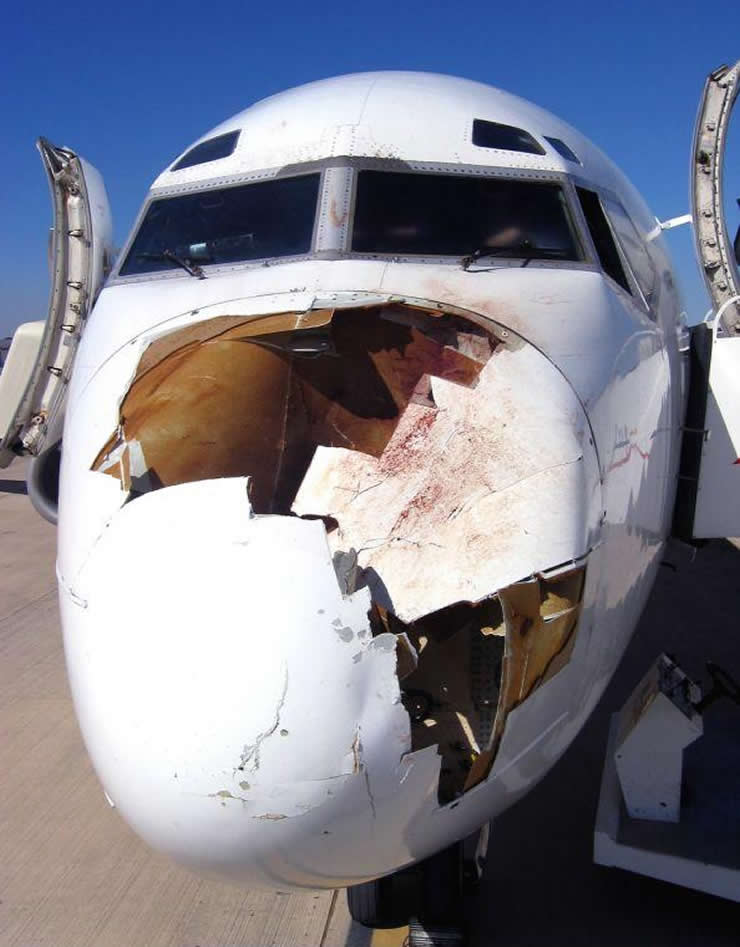 dc-9 airliner nose strike