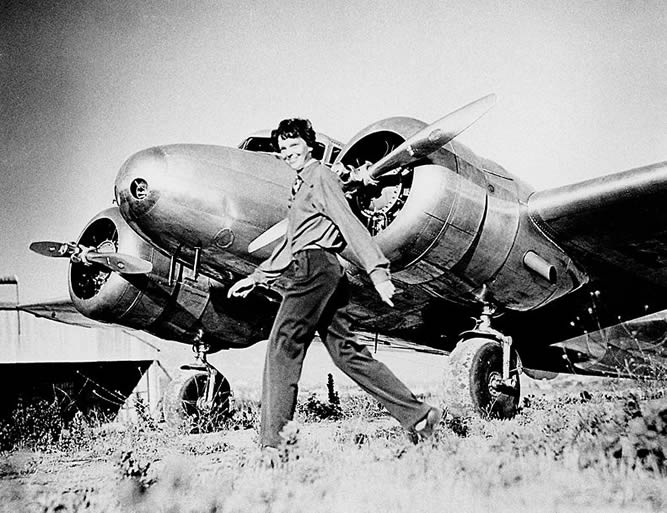 Amelia Earhart with the Airplane Lockheed L-10 She Was Flying When She Went Missing