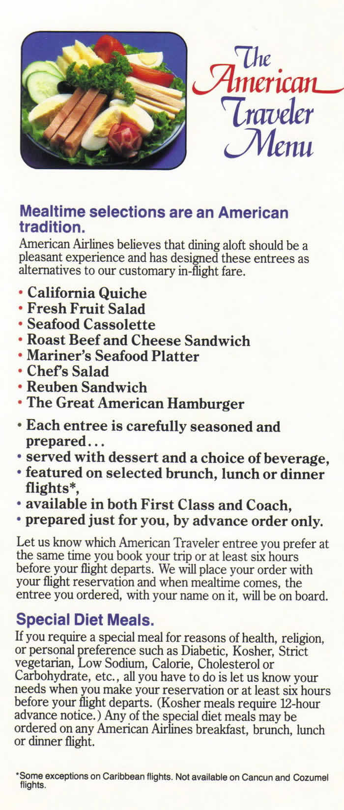 AMERICAN AIRLINES VINTAGE INFLIGHT MENU