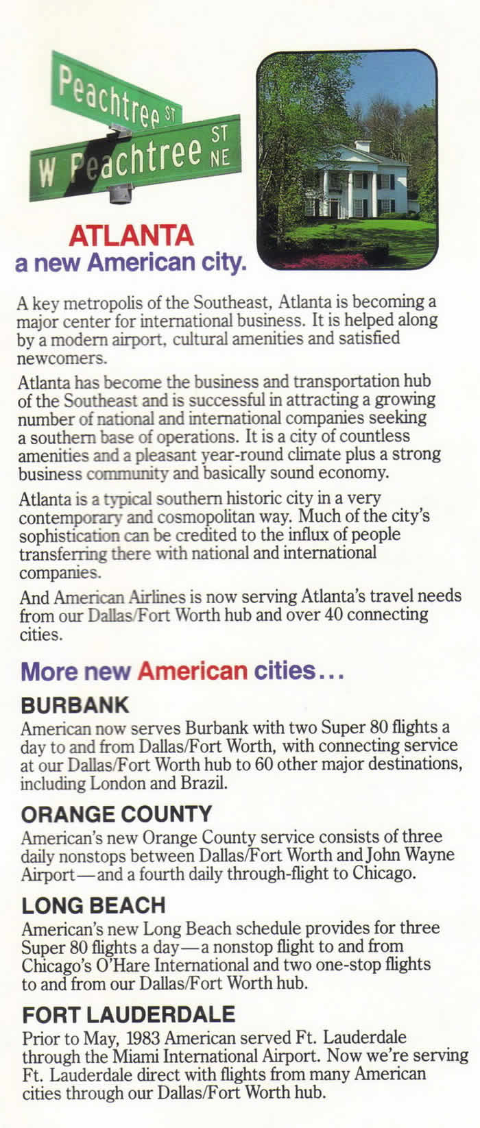 AA NEW CITY DESTINATIONS AMERICAN AIRLINES 1983