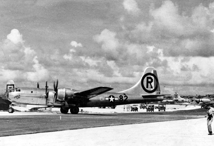 the enola gay before its japanese bombing mission