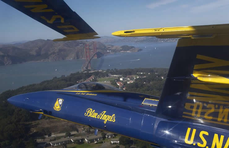 blue angels over the san fran bridge