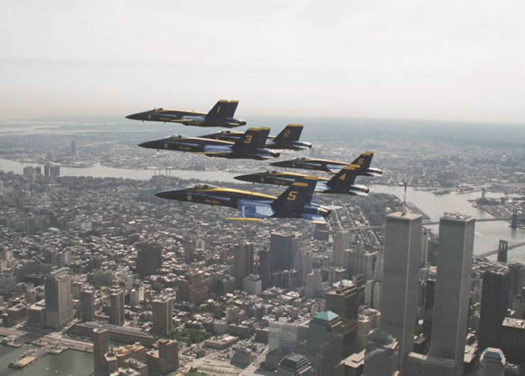 blue angels flying over the world trade center