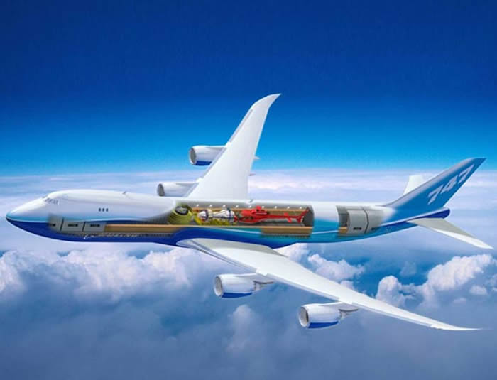 New Boeing 747-8 Intercontinental Airplane Picture - side view transparent skin view - see inside view