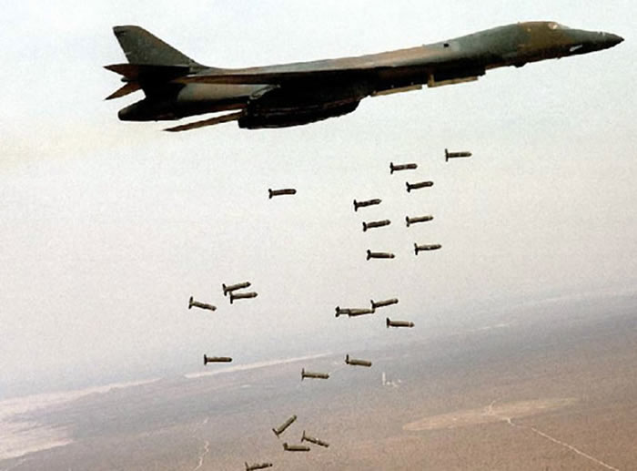 B-1B Bomber Dropping Bombs