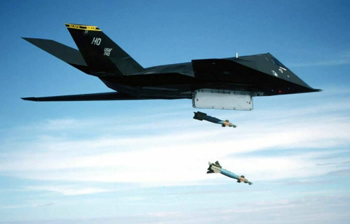F-117 dropping laser guided bombs