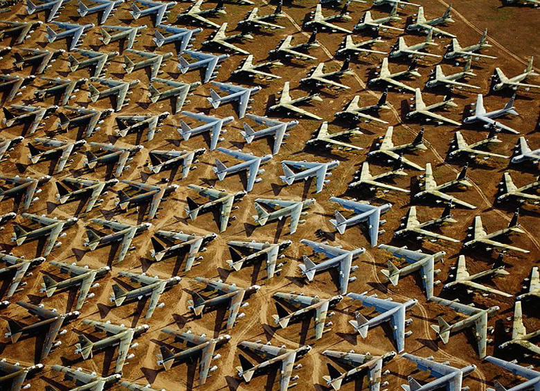 Hundreds of Boeing B-52 Bombers sit waiting in the Arizona Air Firce base Boneyard