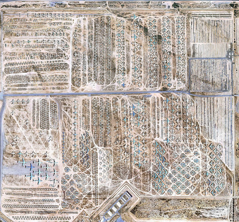 Aerial view of the Air Force Boneyard at Davis Monthan Air Force base in Arizona