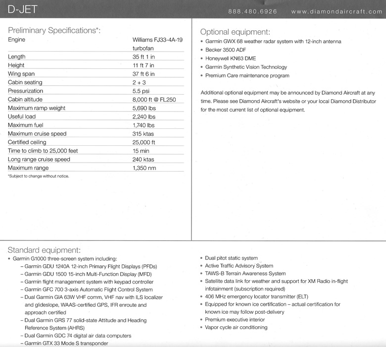 diamond d-jet specifications and standard equipment