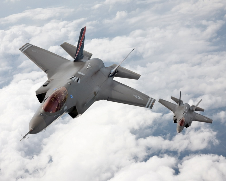 f-35 jsf fighter jets in flight