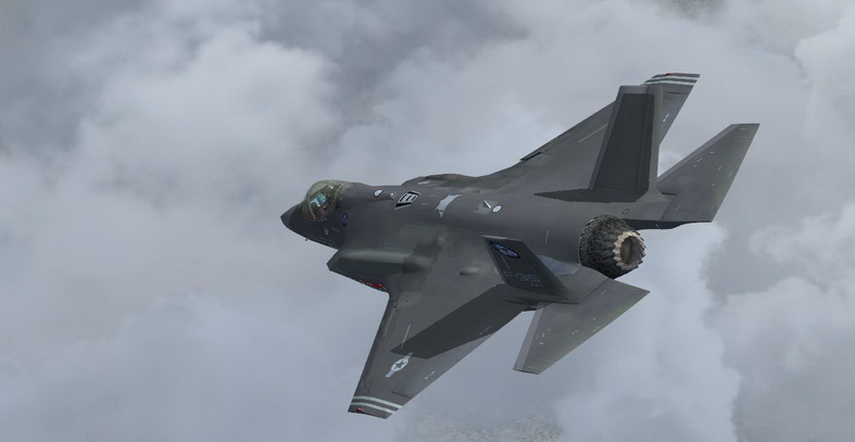 f-35 jsf fighter jet in the clouds
