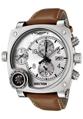 Sector R Men's Compass Chronograph Dual Time Light Brown Leather Pilot's Watch