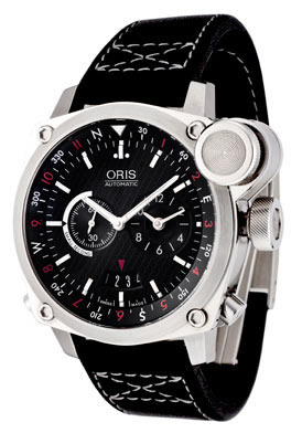 Oris Men's BC4 Flight Timer Automatic Chronograph Black Leather Watch