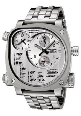 Sector FLIGHT Men's Compass Chronograph International Morse Code Stainless Steel Watch