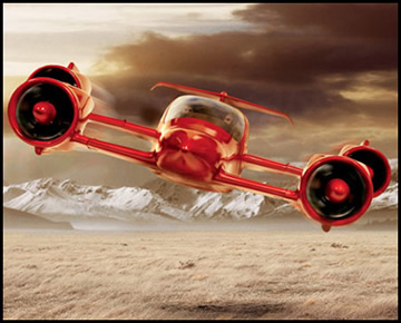 red flying car
