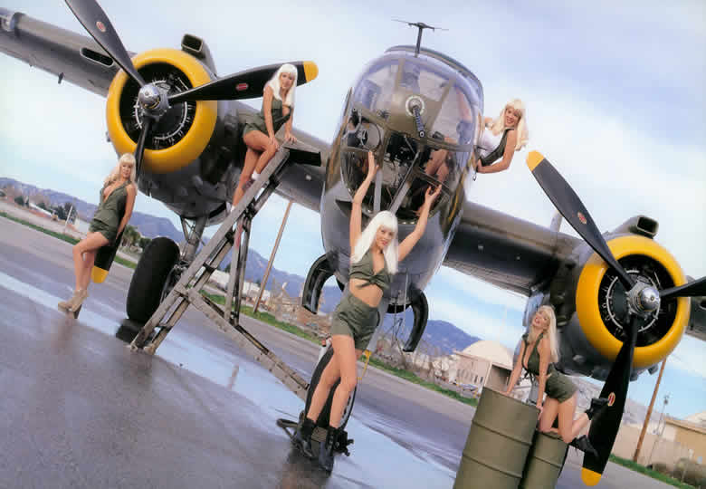 The very sexy and hot girls swedish bikini team with a boeing b-25