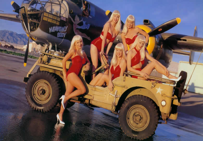the hot and sexy girls of the swedish bikini team with a B-25