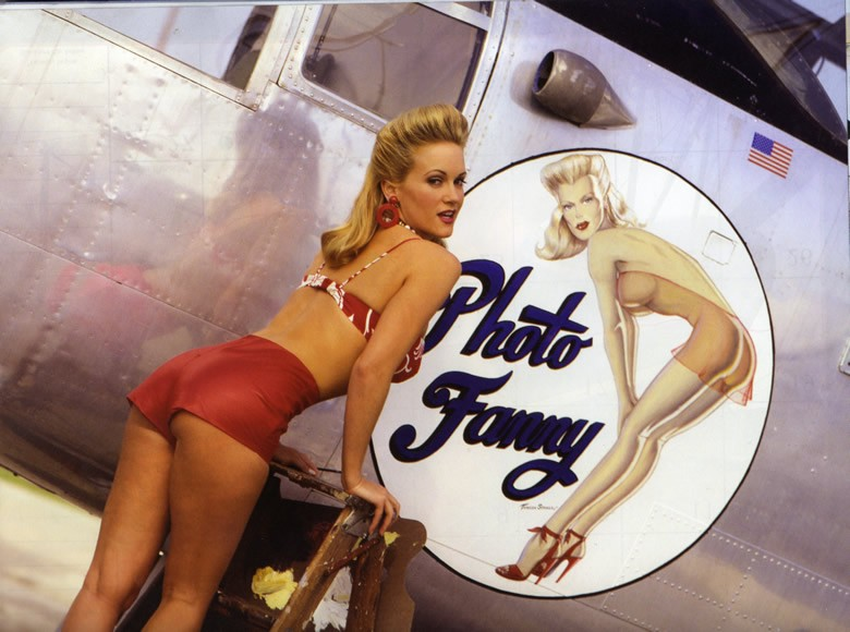 cute girl with american bomber nose art