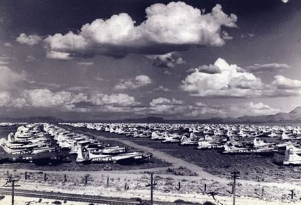 Boeing B-17 Bombers in an Aircraft Boneyard in Kingman after world war 2