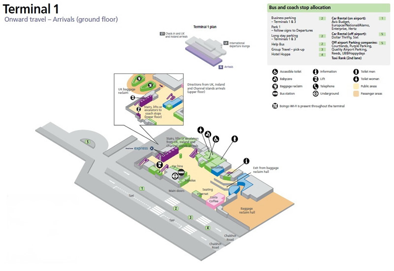 Heathrow Airport Terminal 1 Arrivals Ground Floor Map