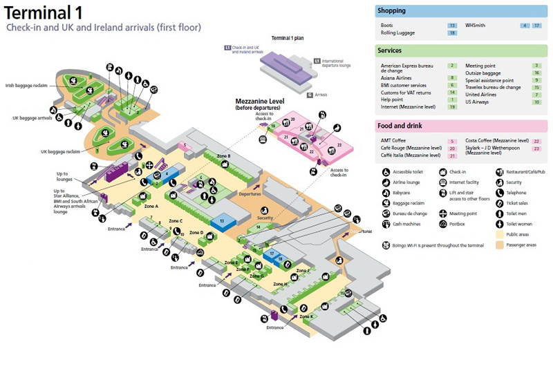 Heathrow Airport Terminal 1 Check-In Map