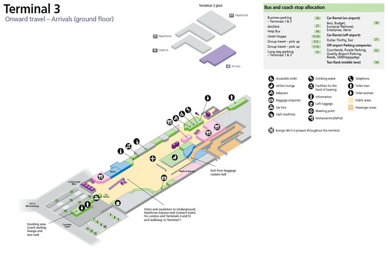 Heathrow Airport Terminal 3 Arrivals Ground Floor Map