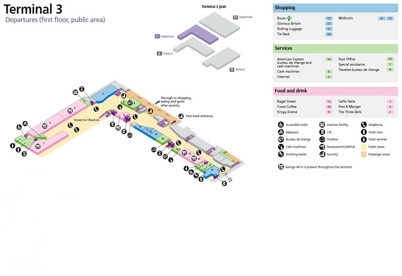 Heathrow Airport Terminal 3 Departures Map