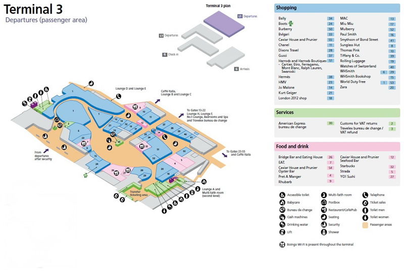 Heathrow Airport Terminal 3 Departures Ground Floor Map