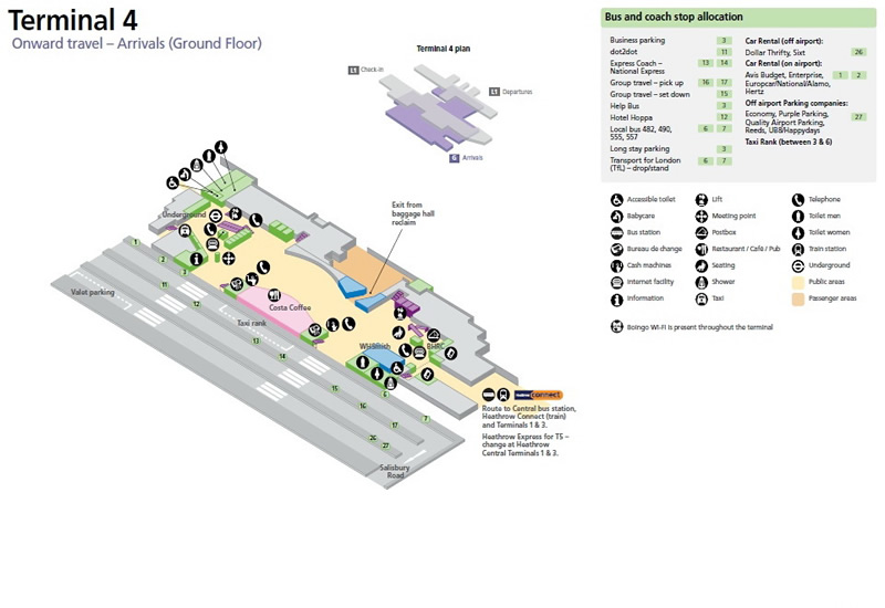 Heathrow Airport Terminal 4 Arrivals Ground Floor Map