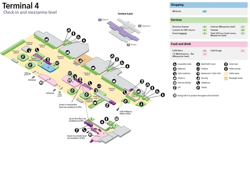Heathrow Airport Terminal 4 Check In Map