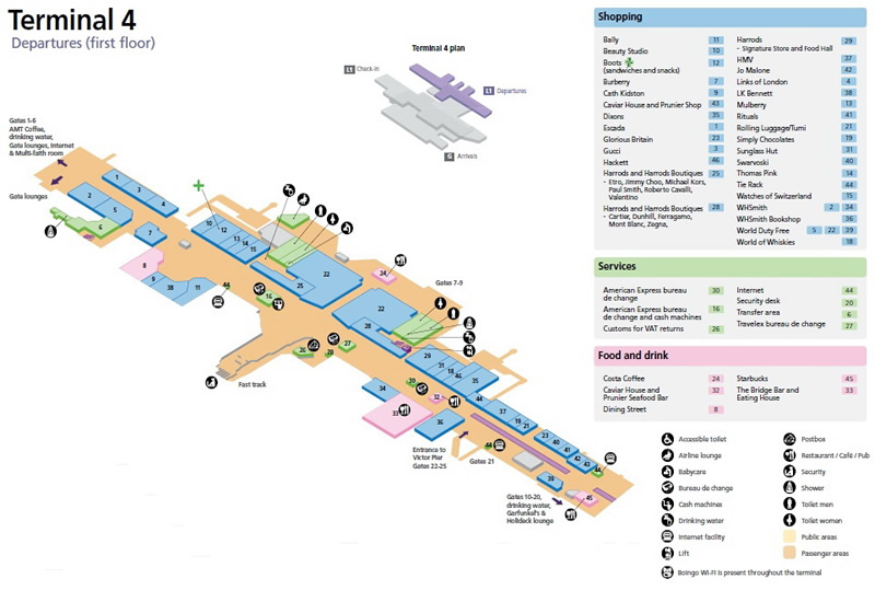 Heathrow Airport Terminal 4 Departures Map