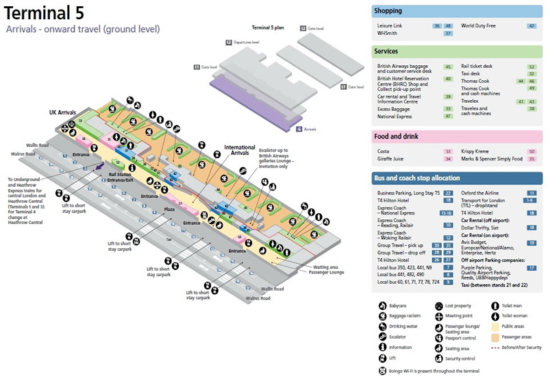 Heathrow Airport Terminal 5 Arrivals Map