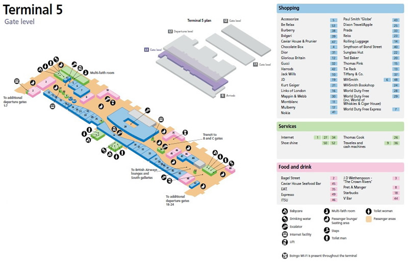 Heathrow Airport Terminal 5 Gate Level Map