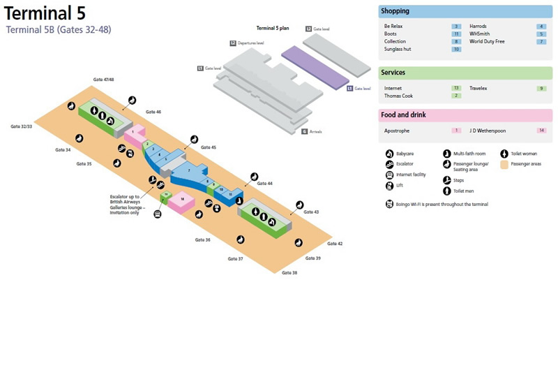Heathrow Airport Terminal 5B Gates 32-48 Map