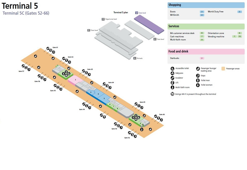 Heathrow Airport Terminal 5C Gates 52-66 Map