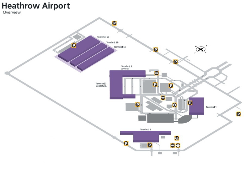 heathrow airport all terminals map