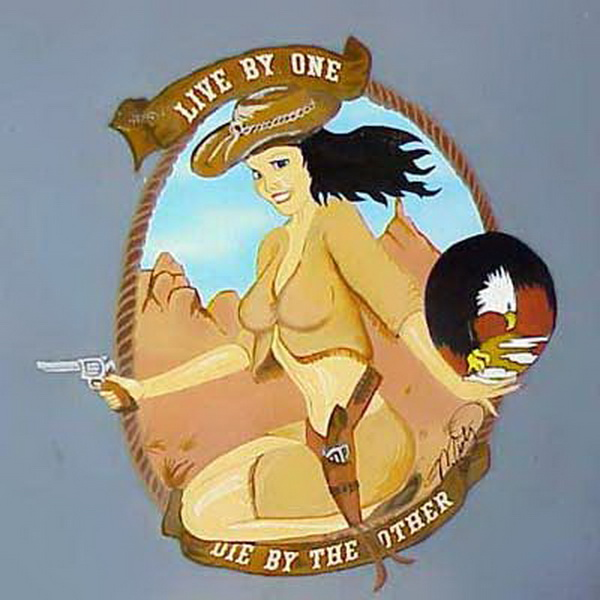 live by one die by the other airplane nose art