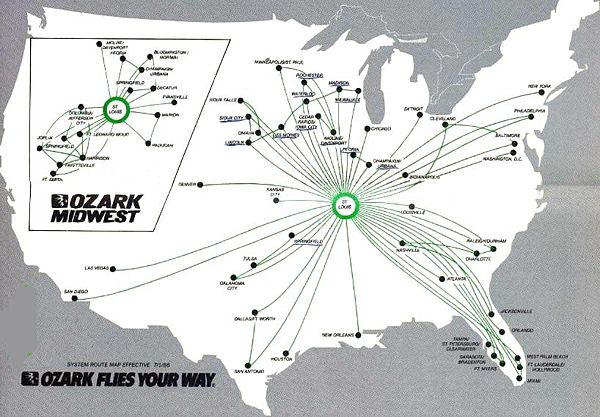 ozark airlines and midwest airlines route map