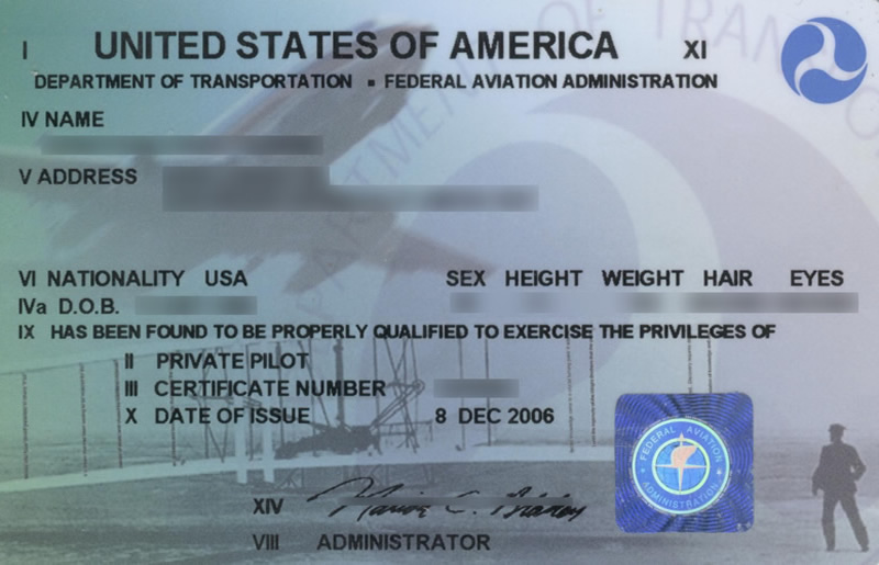 Private Pilot License DOT FAA Sample