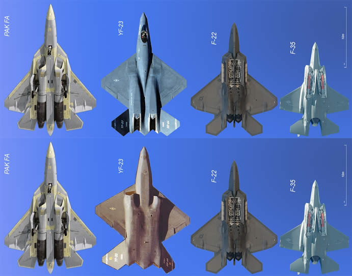 t-50 f-22 f-23 f-35 stealth jet comparison chart