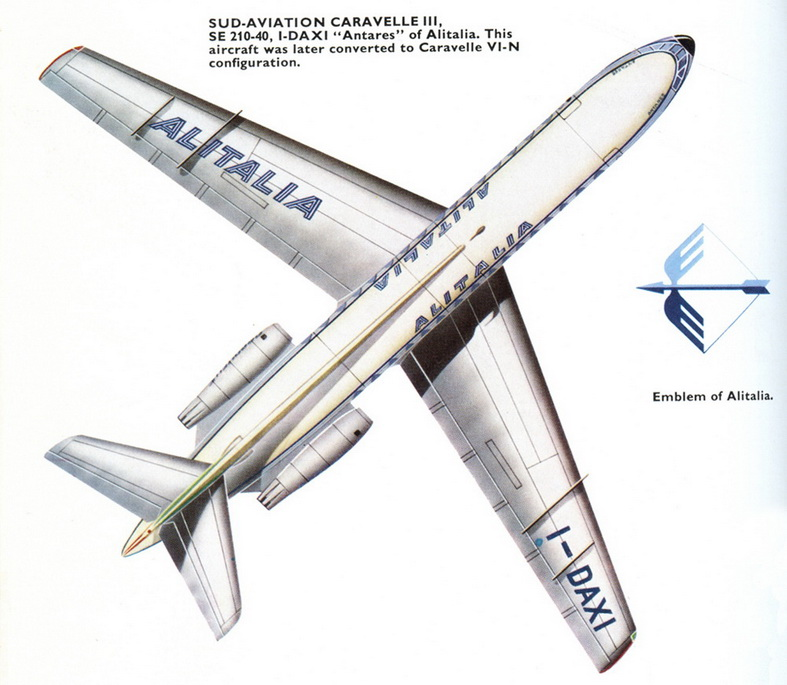 Sud Caravelle Aircraft Alitalia Airlines Schematic