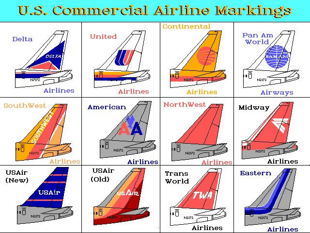 us commercial airline markings