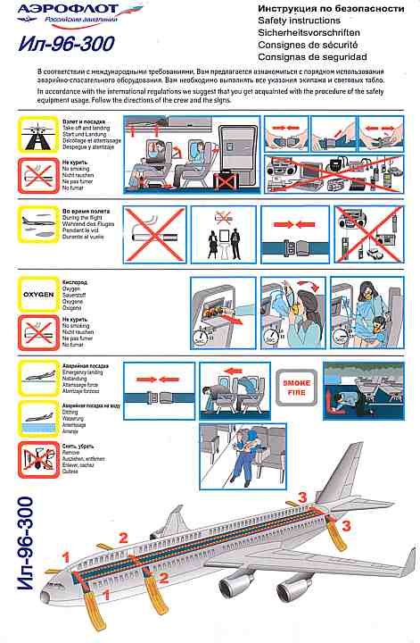aeroflot airline safety cards