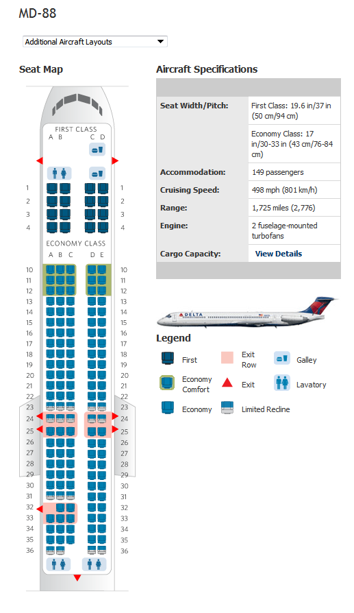 delta airlines md88 seating