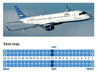 jetblue airways embraer erj-190 jet aircraft seating layout map