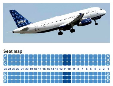 jetblue airways airbus a320 jet aircraft seating layout chart