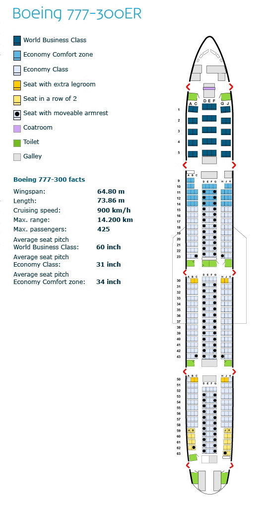 klm royal dutch airlines boeing 777-300er aircraft seating chart